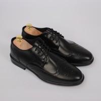 Sepatu Formal Pantofel Kulit Pria Cowok - WORKA WINGTIP BLACK - Ori