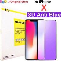 MAXFEEL TEMPERED GLASS 3D QNTI BLUE UV IPHONE X IPHONEX PREMIUM GLASS