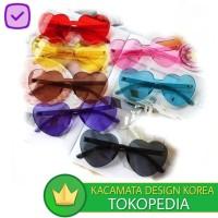 Kacamata (Design Korea) Pria Wanita Love Eye Transparan Frameless