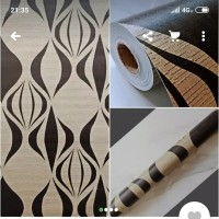 Grosir Murah Walpaper Sticker Dinding Hitam Krem Abstrak 10 M x 55 CM