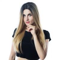 Rambut Palsu Panjang Lurus Gradient Wig Blonde - 5451