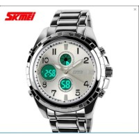SKMEI 1021 Mens Sport Stainless Steel Strap Quartz Wristwatch
