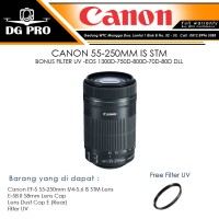 CANON EF-S 55-250MM IS STM BONUS FILTER UV - LENSA TELE CANON