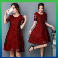 baju pesta wanita - dress brokat gaun party murah blouse maxi maroon
