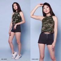 BEST MODEL Baju Tank Crop Top Army Loreng Wanita Best Seller Shirt 19