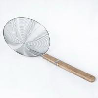 Saringan Parabola gagang kayu 22 cm serok gorengan minyak stainless