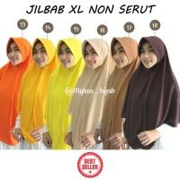 Jilbab Instan NON SERUT Size XL bahan kaos PE murah Seri kuning Coklat