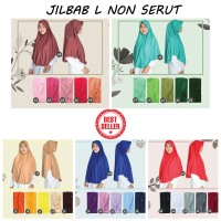 Jilbab Instan NON SERUT Size L bahan Kaos PE murah Seri best seller