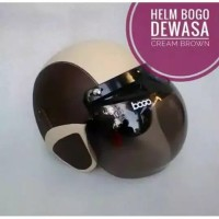 HELM BOGO Dewasa Retro Classic SNI Coklat Krem Kulit
