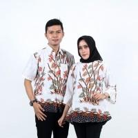 Batik Couple Atasan Wanita Blus dan Pria Lengan Pendek Bambu Putih