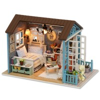 Cuteroom Wooden Kids Doll House With Furniture Staircase LED