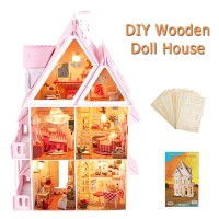 Iiecreate Large Wooden Kids Doll House Kit Girls Play