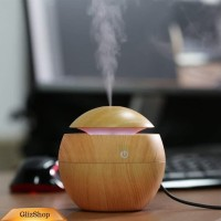 Aromaterapi Air Humidifier Essential Oil Diffuser Motif Kayu Coklat