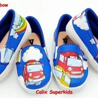 Sepatu Anak Slip On Tayo Biru Tua