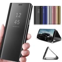 Casing Flip Case Mirror Transparan untuk Samsung Galaxy J3 J5 J7 Pro