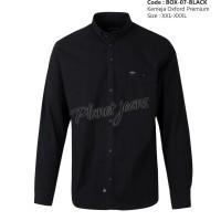 Kemeja Cotton Stretch Big Size Hitam Polos Lengan Panjang box07- Black