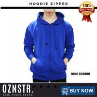 Jaket Sweater Hoodie Zipper Polos Real Cotton Flecee Murah BIRU BENHUR