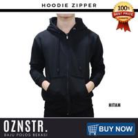 Jaket Sweater Hoodie Zipper Polos Real Cotton Flecee Murah HITAM