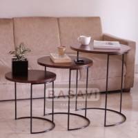 Meja Kayu Solid - Batang Pohon - Meja samping - Kopi - Side Table-tamu