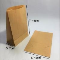 Paperbag Kantong Kertas Coklat Polos SOS 12x7x19cm