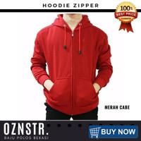 Jaket Sweater Hoodie Zipper Polos Real Cotton Flecee Murah MERAH CABE