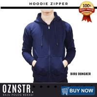 Jaket Sweater Hoodie Zipper Polos Real Cotton Flecee Murah NAVY