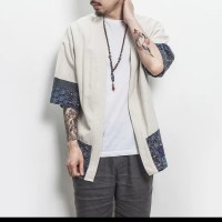 cardigan kimono linen jacket men / jaket trench coat pria
