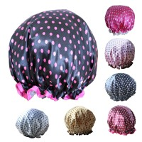 Top Brand Double-layer Satin Shower Cap Waterproof Thick Shower Cap