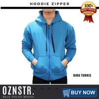 Jaket Sweater Hoodie Zipper Polos Real Cotton Flecee Murah BIRU TURKIS