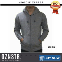 Jaket Sweater Hoodie Zipper Polos Real Cotton Flecee Murah ABU TUA