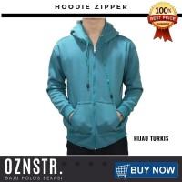 Jaket Sweater Hoodie Zipper Polos Real Cotton Flece Murah HIJAU TURKIS