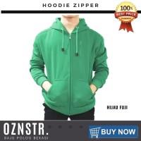 Jaket Sweater Hoodie Zipper Polos Real Cotton Flecee Murah HIJAU FUJI