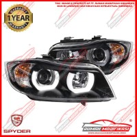 HEADLAMP - BMW E90 2005-2008 - SONAR - ANGEL EYES - LED - BLACK