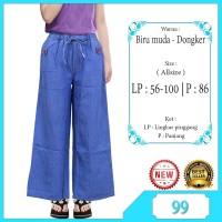 Celana Kulot Jeans Anak Usia 9-13Thn Berkaret Dipinggang Motif Polos