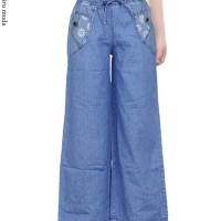 Celana Kulot Jeans Anak Usia 8-12 Karet Full Dipinggang Motif Polos