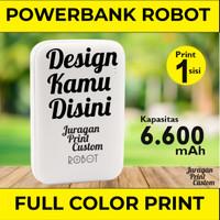 Custom Print Powerbank Robot RT7200 Dual USB 6600mAh cetak 1 sisi
