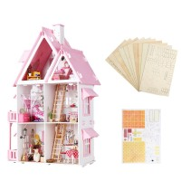 Unik Iiecreate Large Wooden Kids Doll House Kit Girls Play