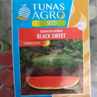 Benih Semangka Lonjong Daging Merah Kulit Hitam - Bibit Black Sweet F1