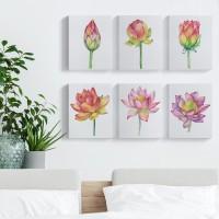 Lukisan Kanvas Bunga Teratai Flower Lotus Dekorasi Hiasan 20x25cm