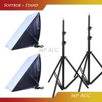 Paket 2 Payung Softbox Reflektor 50x70cm E27 Single Lamp Socket Stand