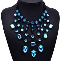 Kalung statement Pesta Elegant Water Drop Light Blue Diamond KN00