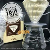 V60-02 Trio Bundling - Latina Server + Dripper + Paper Filter Abaca