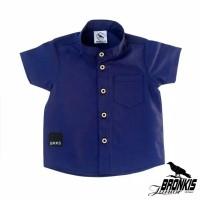 Kemeja Hem Baju Anak Bayi 0-5 tahun biru metalik laut polos distro