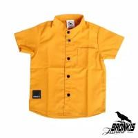 Kemeja Hem Baju Anak Bayi 0-5 tahun kuning orange kunyit polos distro