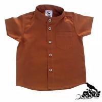 Kemeja Hem Baju Anak Bayi 0-5 tahun coklat polos distro