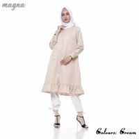 Baju Atasan Muslim Wanita | Velove Long Tunic Original | Cream