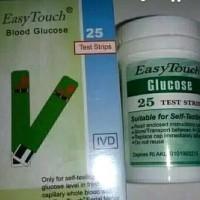 Easy touch strip gula darah/ glucosa isi 25 strip/box .