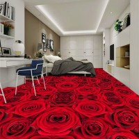 WALLPAPER CUSTOM 3D LANTAI WALLPAPER STIKER LANTAI BUNGA MAWAR ROSE
