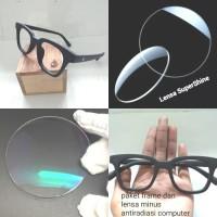 kacamata frame gm paket hemat lensa minus antiradiasi computer