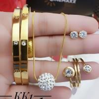 Titanium set perhiasan lapis emas 24k 1305